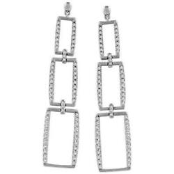 Pave Diamond 18k Gold Dangle Suspended Rectangles Drop Earrings Womenand039s Jewelry