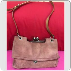 Bimba Y Lola Pink Suede Bag Beige Leather Handles Kiss Kiss Closure  $79.00