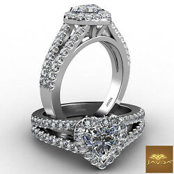 Halo Split Shank French Pave Heart Cut Diamond Engagement Ring Gia H Vs2 1.25 Ct