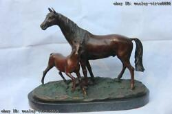 China Classic Bronze Sculpture Mother And Child Small Horse Art Base Of Marble