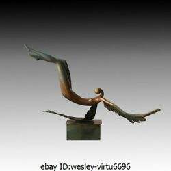 Abstract Bronze Marble Naked Art Deco Sculpture Dance Gril Woman Lady Angel A1