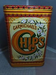 Carmichaels Chips Tin Hinged Collectible Decorative Tin England Vtg Reproduction