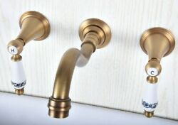 Antique Brass 3 Hole Widespread 2 Knobs Bathroom Tub Faucet Wall Mount Zsf515