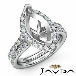 Diamond Engagement Pave Ring Marquise Semi Mount F-g Color 14k White Gold 1.36ct