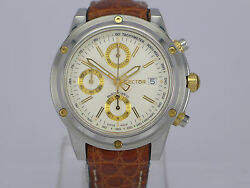 Swiss JUMBO Sector auto date white dial Gold/SS chrono sport watch with paper