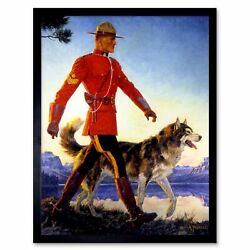 Painting Portrait Mounted Police Mounty Mountie Wolf Husky Canada Framed Print