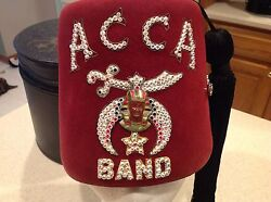 Shriners Fez Hat Acca Band Rhinestones With Nice Box Very Clean. Looks New