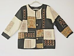 CASUAL DESIGN PATCHWORK JACKET-BLAZER PRETTY TAPESTRY PATCHES FULLY LINED SZ L