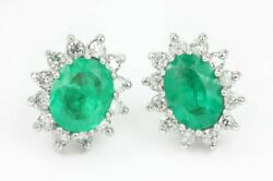 2.55tcw Oval Shape Colombian Emerald And Round Diamond Cluster Earrings Gold 14k
