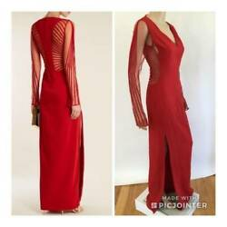VERSACE SEXY SHEER SIDES & BACK RUNWAY GOWN SZ 40 MSRP $4995