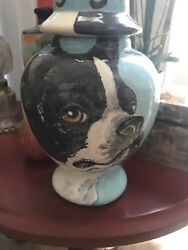 Custom Memorial CERAMIC SMALL Pet urn for Dog ashes ash Boston Terrier portrait