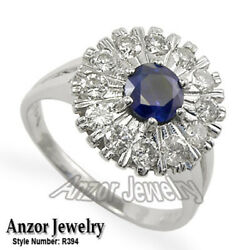Russian Ussr Vintage Style Diamond And Sapphire Ring 585 14k White Gold R394