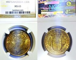 South Rhodesia 1937 Half Crown Superb Gem Certified Ngc 65 Colorful Rare