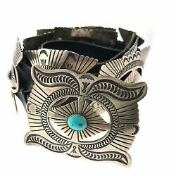 Native American Sterling Silver Turquoise Stamped Concho Leather Belt 42