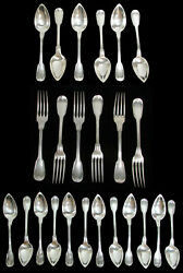French 950 Sterling Silver Quitte Prudent 24 Piece Flatware Set 40.6 Ozs