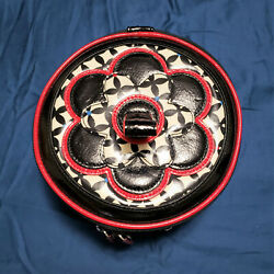 VERA BRADLEY Cosmetic Vinyl Hatbox Travel Bag Red Black White 7 x 3.5quot; Inches $17.17