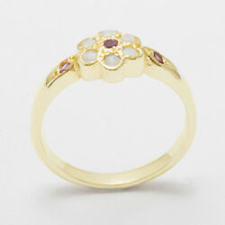18k Yellow Gold Natural Pink Tourmaline And Opal Womens Daisy Ring - Sizes 4 To 12