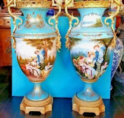 Pair Large Limoges Hand Painted Porcelain and Bronze Vase France  35 3/4''