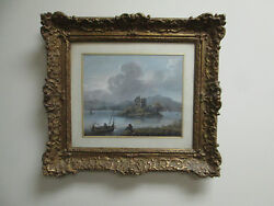 Antique French Gouache Ca 1800 Andndash Sail Boats Fishing On French Lake With Castle