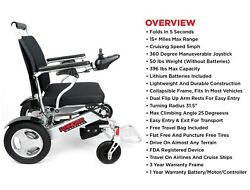 LIGHTWEIGHT FOLDING ELECTRIC WHEELCHAIR COMPACT PORTABLE POWER CHAIR FOR ADULTS
