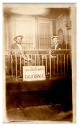 Rppc On Our Way To California Sign, Caboose Studio Real Photo Postcard