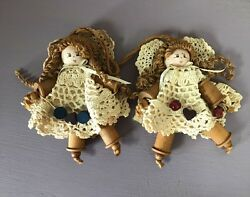 Pair Of Vintage Handmade Wooden Button And Spool Girl / Girls