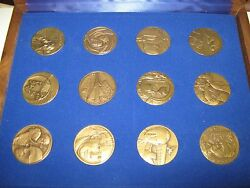 The Medallic History Of The Jewish People In Our Time 12 Bronze Medals Rare
