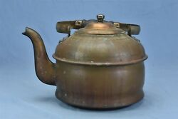 Antique Copper Tea Kettle Gooseneck With Wood Cooking Stove Bottom Htf 04538