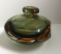 Old Moretti Poli Murano Glass Perfume Bottle 4 In Wide No Stopper Faceted Italy