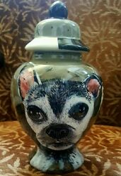 Custom Pet DOG urn cremation pug urn terrier dog painted pet portrait animal urn