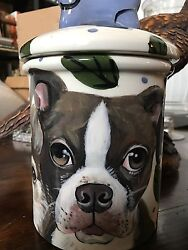 Custom Ceramic DOG TREAT Cookie Jar Brown Boston Terrier large Multi