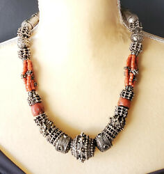 Antique Silver Bawsani Filigree Coral Beads Necklace Form Yemen Tribal Jewelry
