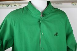 Pioneer Seed Corn Green Snap Button Front Jacket Size Large Grain Farming Coat