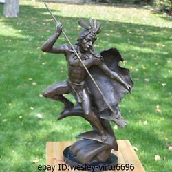 Western Bronze Marble American Indian Man Hold Spear Art Deco Sculpture Statue A