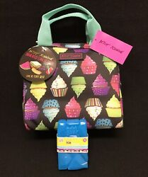 Betsey Johnson Cupcake Insulated Lunch Box Tote Cooler Bag w ice pack New!