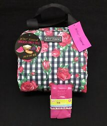 Betsey Johnson Rose Floral Insulated Lunch Box Tote Cooler Bag w ice pack New!