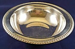 Wm. Rogers Silver Plate 10 1/2 Serving Bowl With Fancy Twisted Rope Rim
