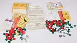 Vintage 1961 Monopoly Game Playing Pieces Money Houses Cards Tokens 1996