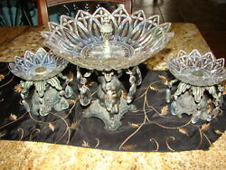 Hollywood Regency Vintage Estate Metal And Glass Cherub Dishes Iridescent Glass