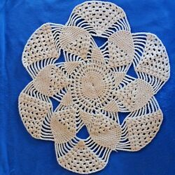 Vintage 4 Doilies Crochet Round Mats Wool Beige Floral Table Handmade Embroidery