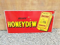 1930s Vintage Original Old Thomas Bearsand039 And Sons Honeydew Cigarette Enamel Sign