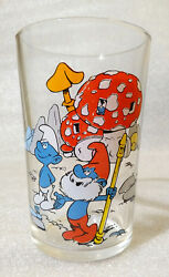 Rare Vintage Water Cup ✱ Smurfs Schlumpfe Schtroumpfs ✱ Collection Glass 1976 1