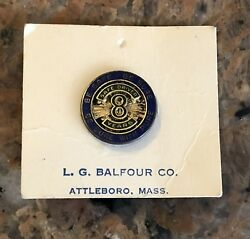 1950's Pure Oil Company Eight Year Driving Award Nos Balfour Screw On Back