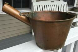 Antique Vintage Handmade Copper Water Grain Dipper Soldered Handle Country Farm
