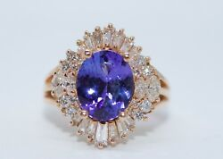 14k Rose Gold Aaa+ Oval Tanzanite With Round And Baguette Diamonds Ring Size 8