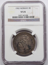 Norway 1902 2 Kroner Silver Coin Ngc Vf25 Very Fine Toned Km 359 Scarce