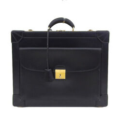 Auth Genuine HERMES Hermes trunk business bag with calf black □ B engraved lea