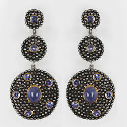 8.55ct Tanzanite Dangle Drop Earrings Solid 925 Sterling Silver Diamond Pave New