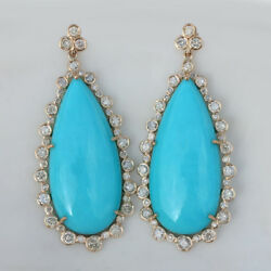 Turquoise Gemstone Dangle And Drop Earrings Natural Diamond Solid 14k Yellow Gold