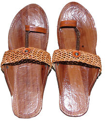 Indian Brown Ethnic Traditional Partywear Casual Slipper Sandal Shoes For Womens